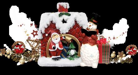 christmas house santa frosty scene