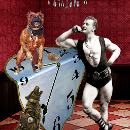 surreal strongman dog room dali freetoedit