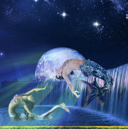 freetoedit waterfall mermaid merman lighteffects