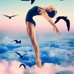 eclevitation levitation freetoedit birds clouds