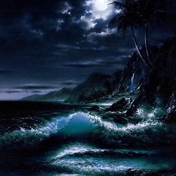 freetoedit background ocean waves midnight