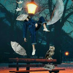 freetoedit park bench moon surreal eclevitation