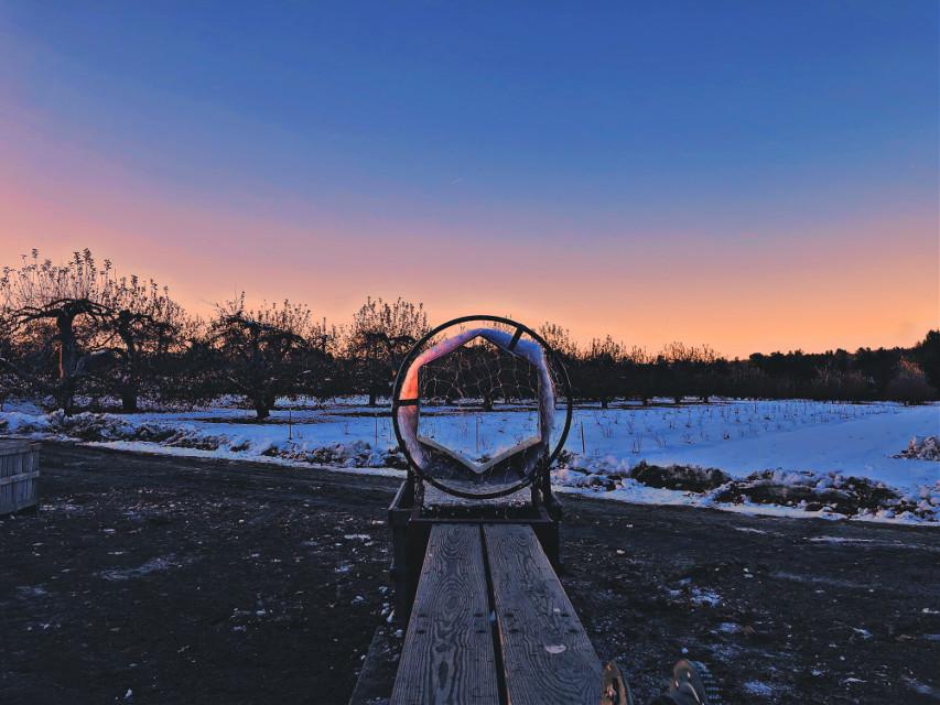 #sunset #farm #silhouette #snow #winter #freetoedit #pccentered
