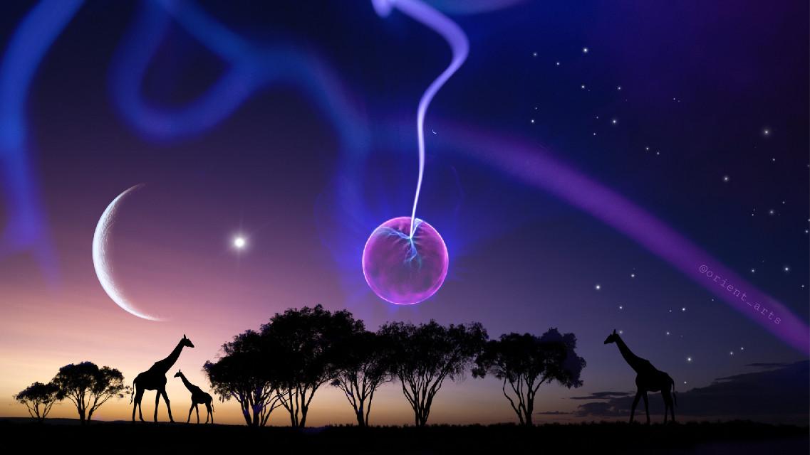#silhouette #giraffe #star #stars #moon #planet #sunset #trees #sureal #beautifulcolors #colors #fantasy #picsart @picsart