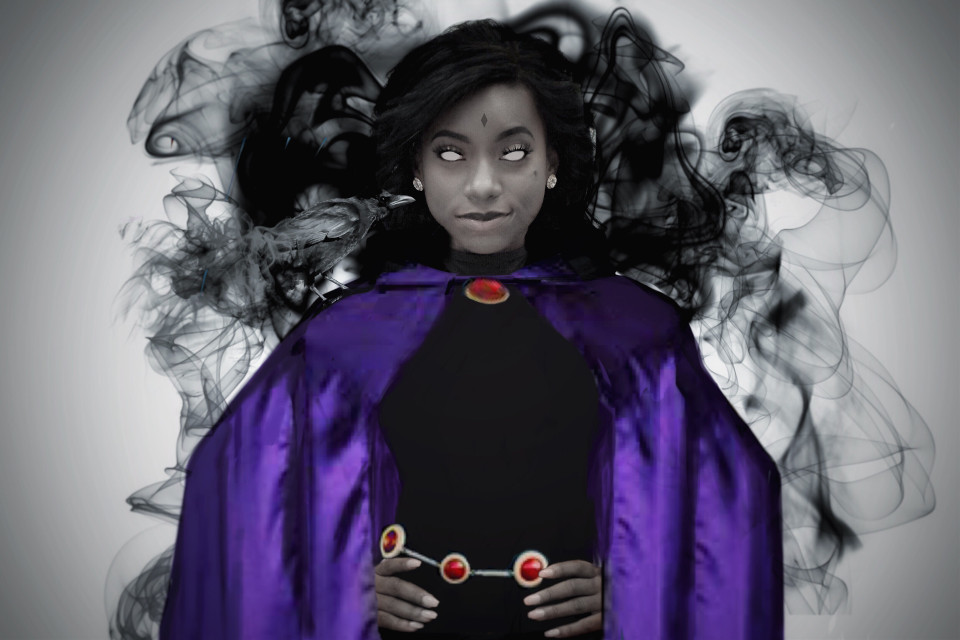 When theres trouble you know who to call!📞  #freetoedit #teentitans #Raven #Smoke #interesting #magic #hero #girl #purple #black