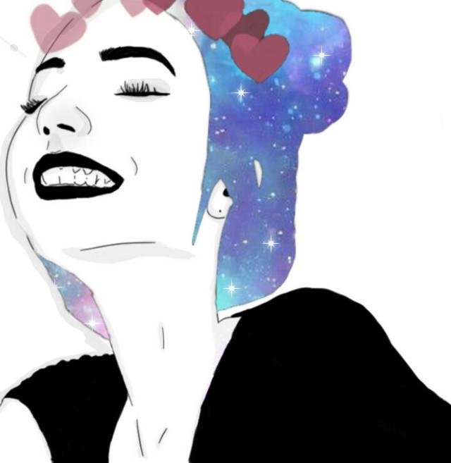 #freetoedit #drawing #girl #galaxy #idk