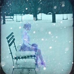 freetoedit snowscape sittinggirl wintertime