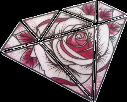 Diamond Triangles Rose Flower Sticker By