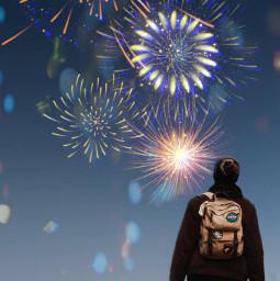 freetoedit man fireworks mask ftesticker