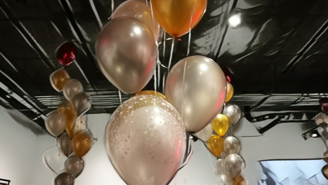 Balloons #balloon #party #opening #silverballoon #silver #gold