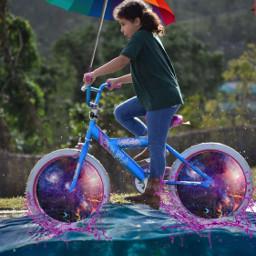 umbrella rainbowlightcontest colorful bike kid