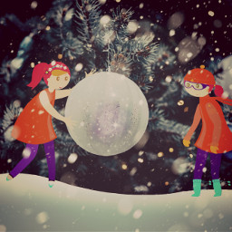 freetoedit twinsisters coldnight discovery snowy ircchristmasornaments