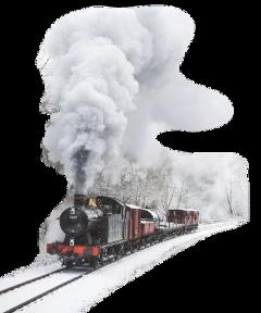 train winter snow freetoedit
