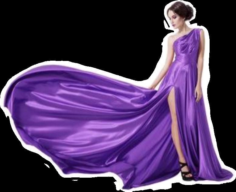 Mujerhermosa Vestido Largo Morado Vuelo