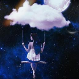 freetoedit moon clouds lost swing