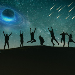 freetoedit friends happy planet meteorshower