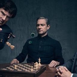 sherlockbbc johnwatson mycroftholmes chessboard chesspieces