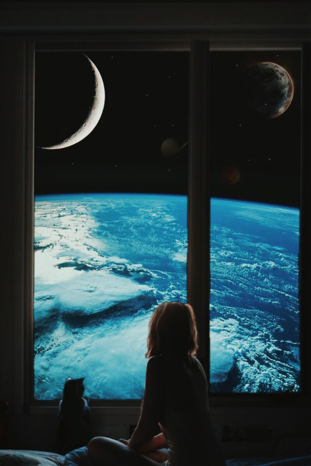 🌜 #freetoedit #edit #picsart #window #girl #cat #space #moon #earth #saturn #planets #visualart #surrealism #creative