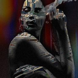 allpicsart woman beatiful doubleexpesure citygirl