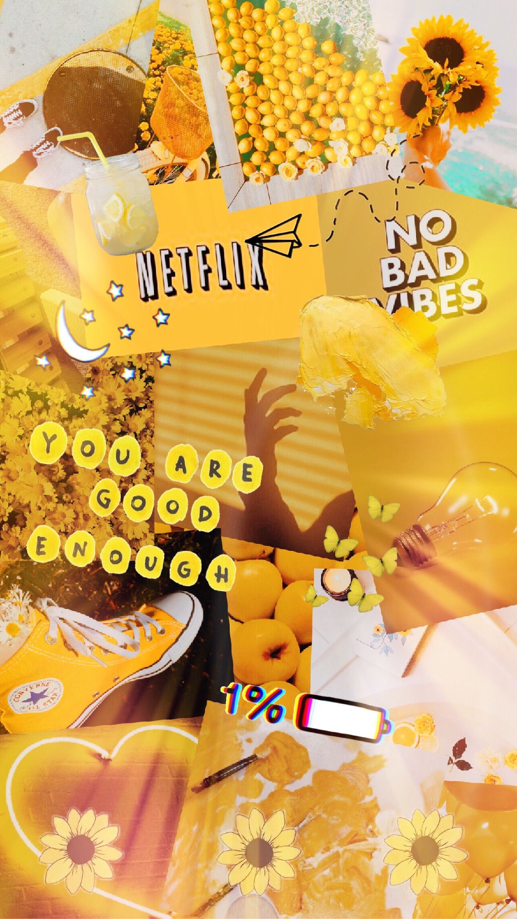 Yellow Aesthetic Tumblr Stickers Wallpaper Background