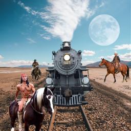 freetoedit cowboys train smoke clouds
