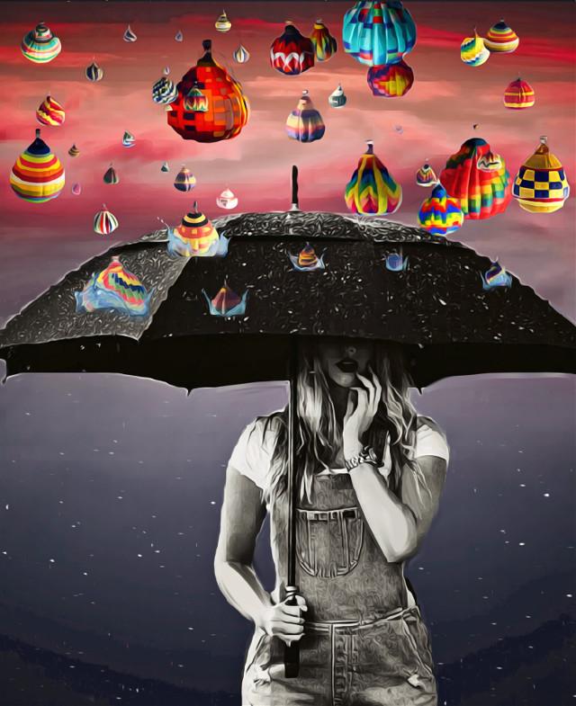 #freetoedit #hotairballoon #umbrella #rain