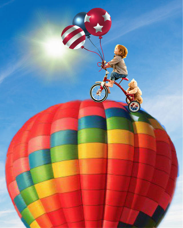 """""""Oh, the places to go!"""" - - #bicycleride #adventure #boyandhisbear #balloons"""