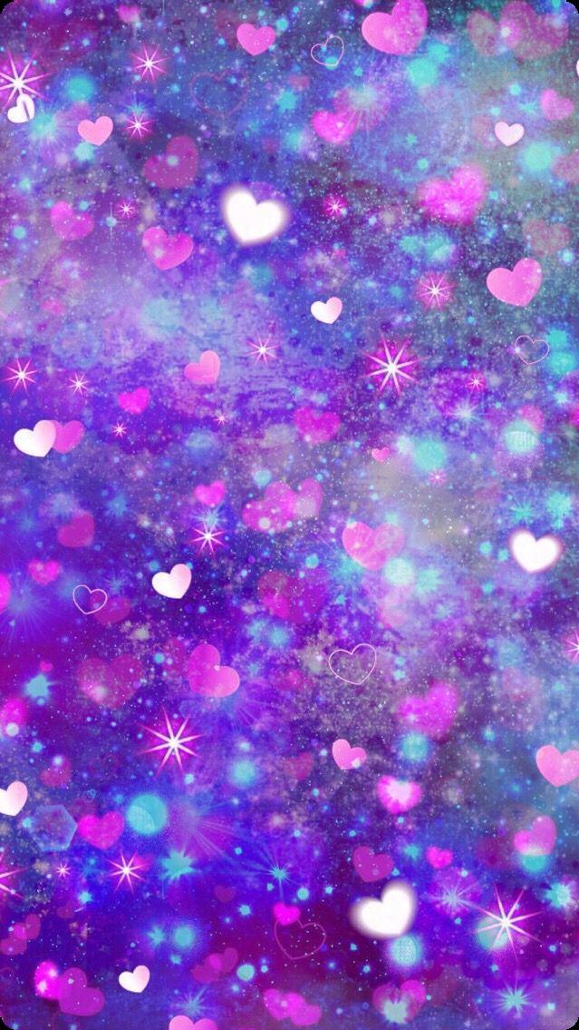 #wallpaper #background #backdrop #pink #stars #moon #clouds #cloud #blue #green #glitter #hearts #rainbow #purple