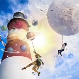 lighthouse planets stars sky climbers freetoedit