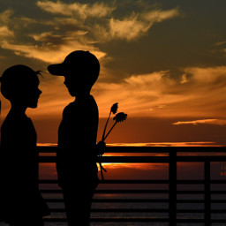 photography sunset northsea cuple myedit