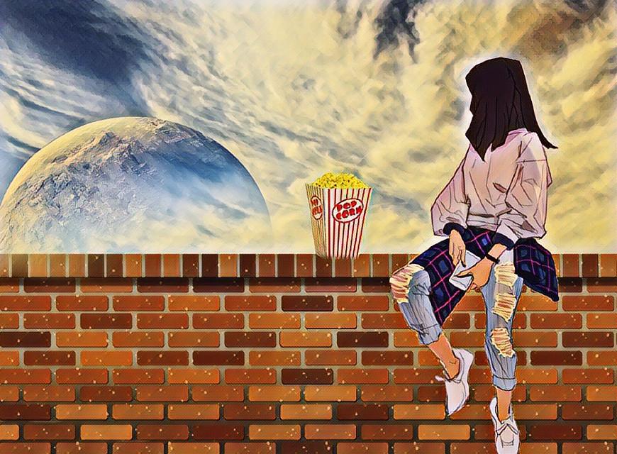 #freetoedit #popcorn #sky #girl ❤️🦋