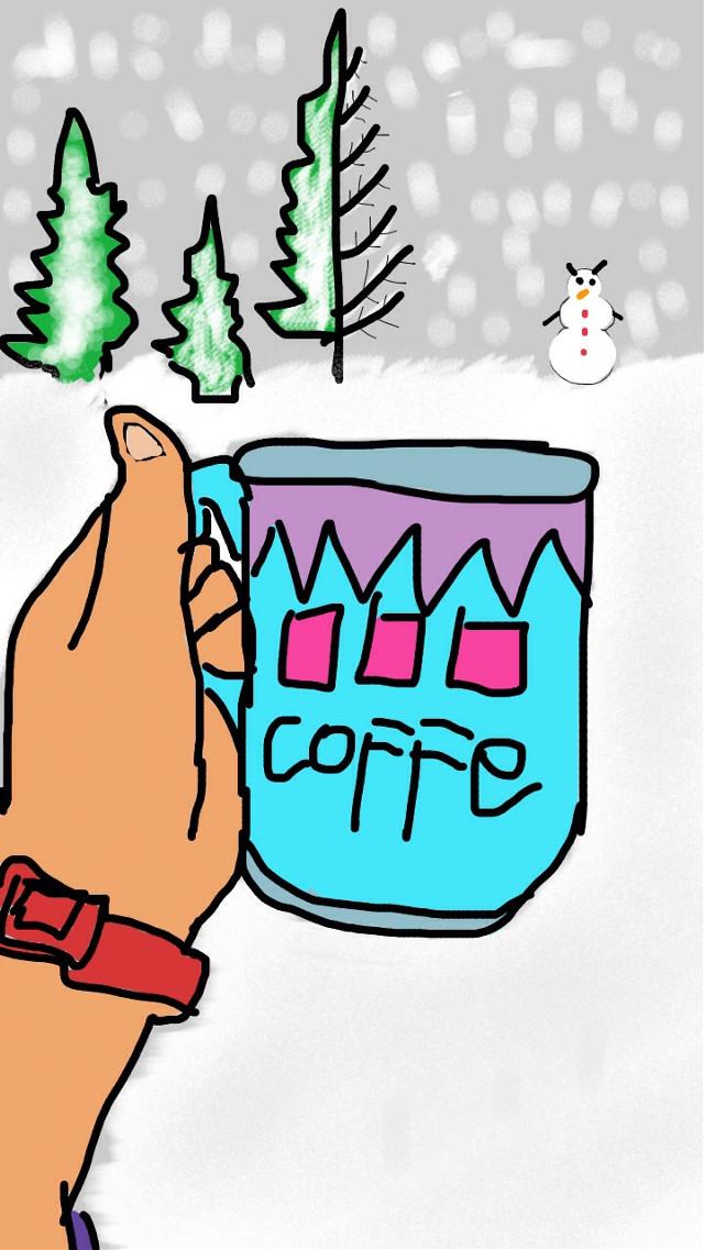 #art #snow #coffee #mug #people #picsart #freetoedit