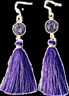 earrings jewelry purple gold tassels freetoedit