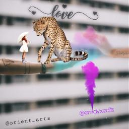 freetoedit leopard love girl umbrella