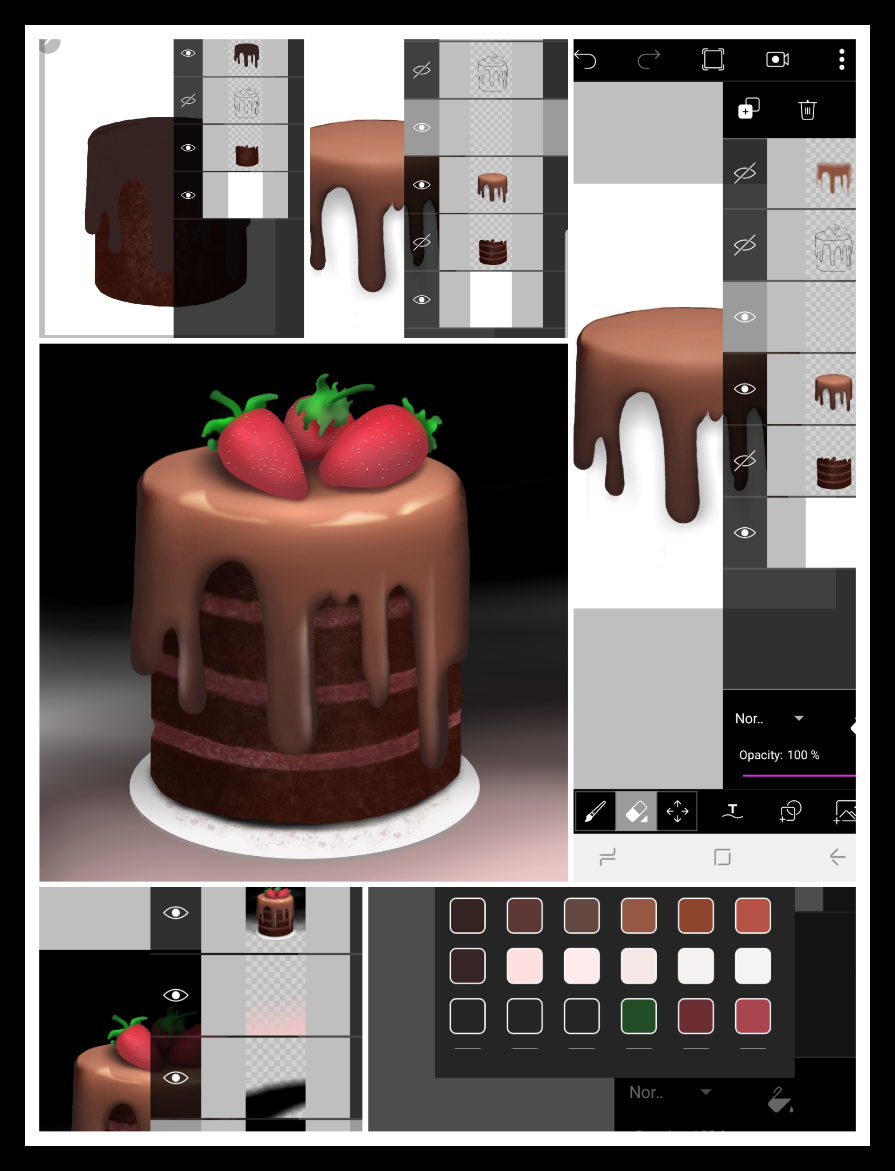 These are the steps for my drawing entry to the Picsart chocolate drawing challenge.  #mydrawing #process #steps #chocolate #cake  #freetoedit  I wanted to share the drawing process. No reference drawing. Started with my lines that didn't look so good. Then a load of erasing, adding layers and time it got done! 😁 yay!  If you like it hope that you will give it your vote on the challenges 🏆 page on the app. 😊🙇♀️🙋♀️ Thank you!  My picture link. https://picsart.com/i/286687832002201