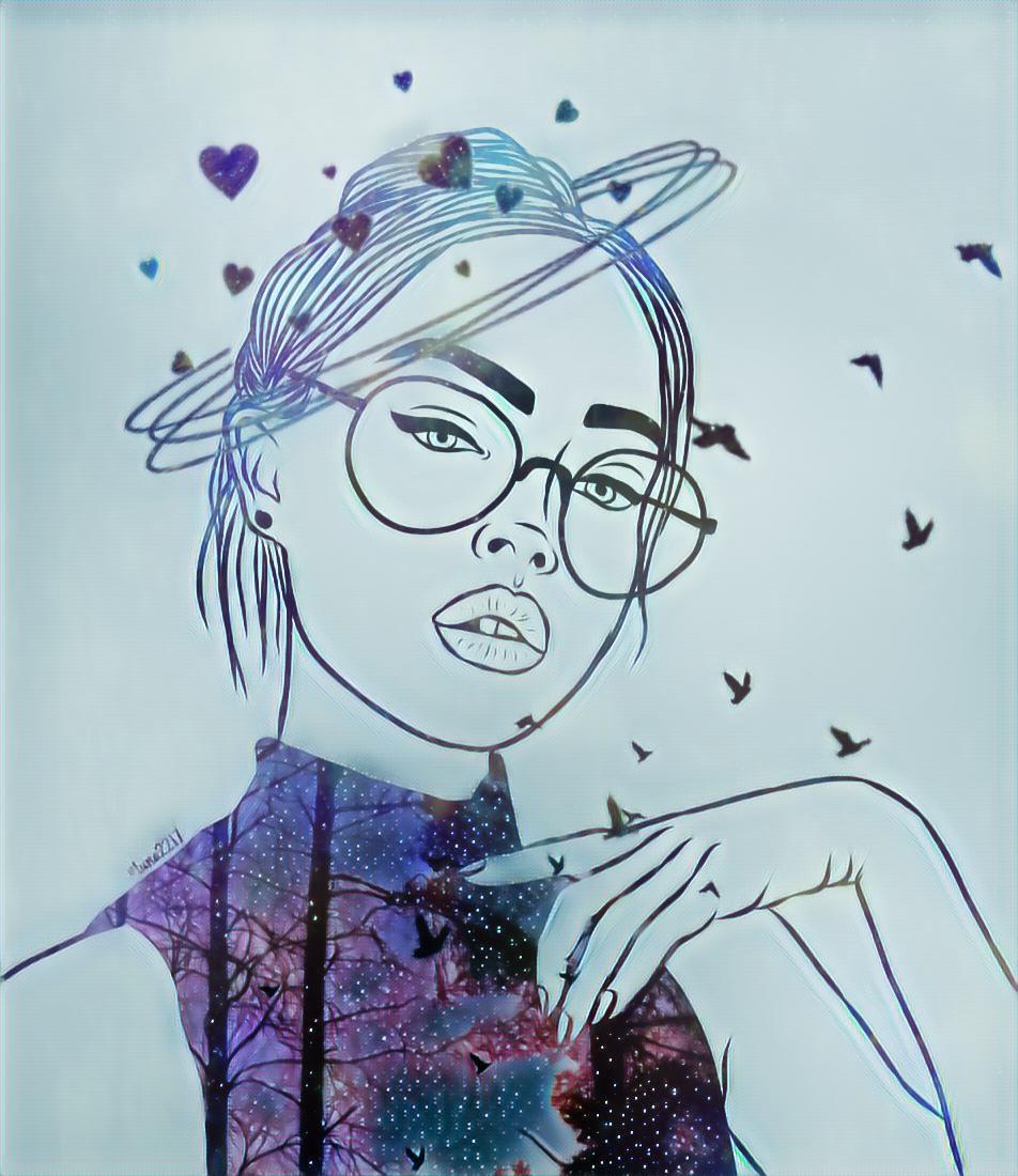 #freetoedit #remix #girl #trees #birds #fx #magic #fantasy #night #Sama ,, @samasabry15