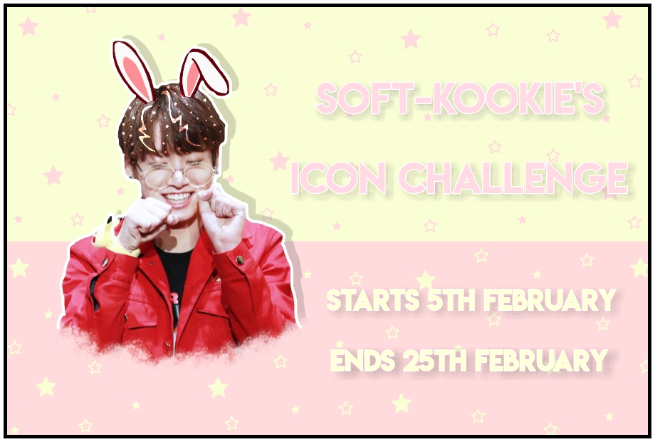 [CHALLENGE CLOSED]   ICON CHALLENGE  -----------------------------------------  I've hit 25k followers so i thought I'd do a little contest to celebrate 🥰   -----------------------------------------  WHAT TO DO:  - create an icon of jungkook with my username 'soft-kookie edits'  - use pastel colours  - use your own style of editing  - Use the hashtag #softkookiesiconchallenge and tag me in it  - can have 3 entries  -----------------------------------------  Winner will get a shoutout on my page a spam of likes and i will repost 10 of your edits and i will also be using the winning icon   -----------------------------------------  Comment 💜 if you think you will join and repost this image  -----------------------------------------