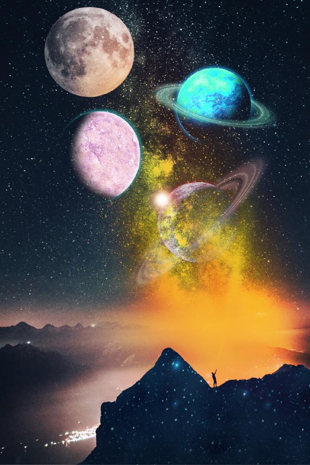 #freetoedit #planets #light #stars #nightsky #sky #sparkles #space #mountains #dodgereffect #madewithpicsart #picsart