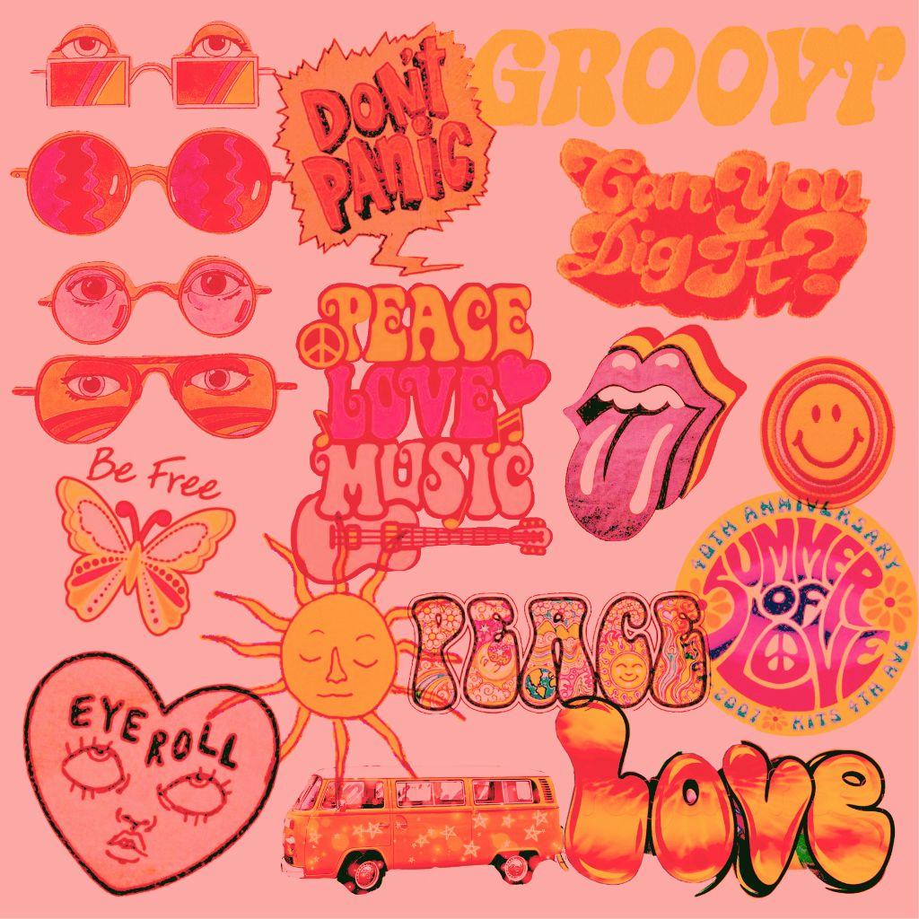 freetoedit groovy 70s vibes hippy peace love positivevi