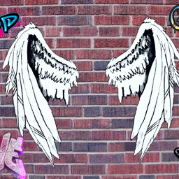freetoedit graffiti angelwings brickwall