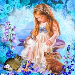girlsndbunnies roses rabits girlslove bunnyrabbit freetoedit