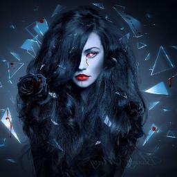 darkart girly blackhair witch evileye freetoedit