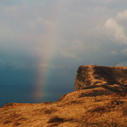 cliff freetoedit rainbow sky seaview