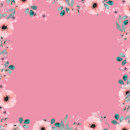 freetoedit background floral frame square pink