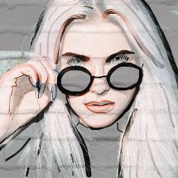 freetoedit girl drawing glasses whitebricks