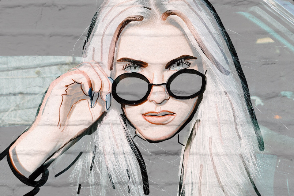 #freetoedit #girl #drawing #glasses #whitebricks #interesting #art