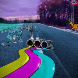 freetoedit road village colors deer
