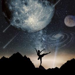 freetoedit galaxy moon stars ballerina