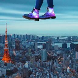 freetoedit boots city walkingonair galaxyboots