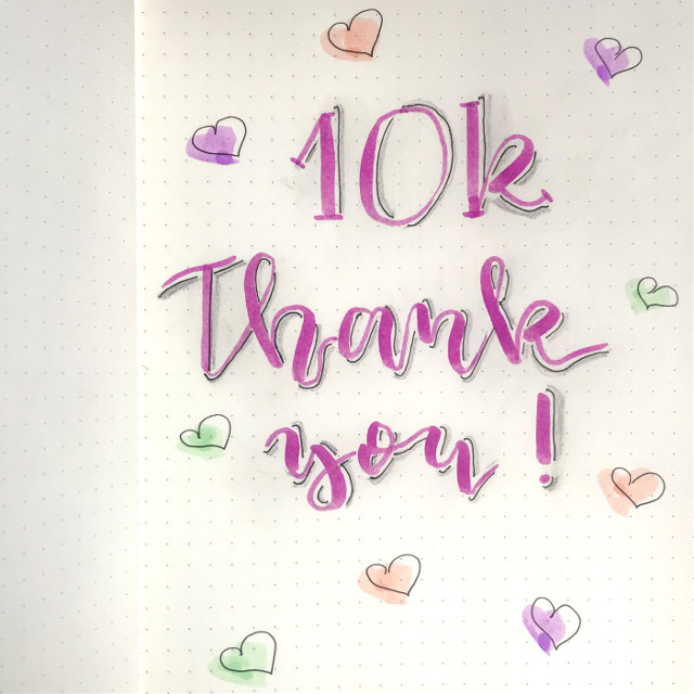 Wow 10000 😍 thank you so much, I'm so happy !! #10k #thankyou #lettering #handlettering #doodle #drawing #notes #studygram #freetoedit